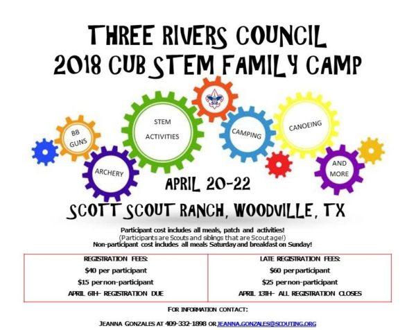 2018 stem family camp flyer
